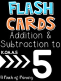 Addition & Subtraction Flash Cards to 5 FREEBIE
