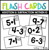 Addition & Subtraction Flashcards within 10- Animal Theme