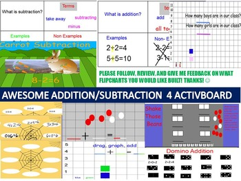 20 Pages Addition Subtraction Flipcharts BUNDLE for Activb