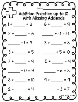 Addition & Subtraction Practice Pages