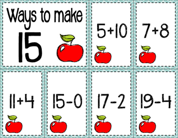 Math Fact Fluency for August (11 to 20)