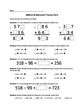 Addition & Subtraction Fluency Test