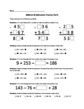 Addition & Subtraction Fluency Test