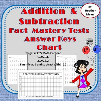 Addition Subtraction Fact Fluency Timed Tests and Progress Chart