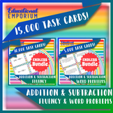 Addition & Subtraction Fluency and Word Problems Task Cards ENDLESS Bundle