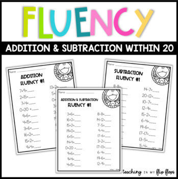 Addition & Subtraction Fluency within 20 -- Animal Theme