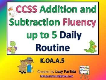 Addition and Subtraction Fluency Routine 5 in EnglishBilin