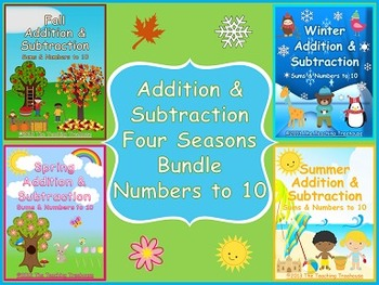 Addition & Subtraction Within 10 Four Seasons Bundle