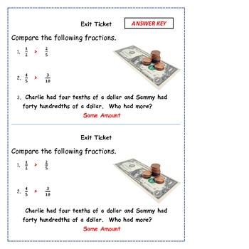 Addition & Subtraction Fraction Warm Up and Exit Tickets