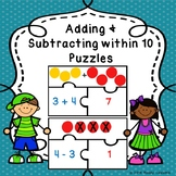 Addition & Subtraction Game Kindergarten Add & Subtract within 10 Puzzles K.OA.1