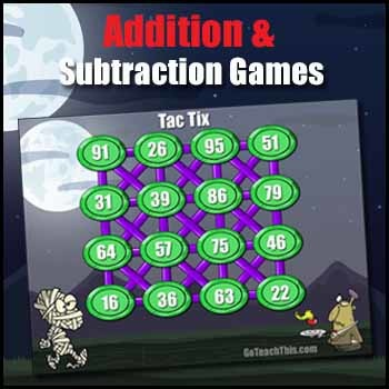 Halloween Math Game -   ADDITION GAME & SUBTRACTION GAME in One - Tac-Tix