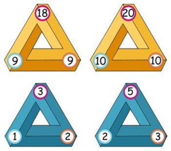 'ADDITION & SUBTRACTION GAME' with Triangular Flash Cards - Kiss the Dragon