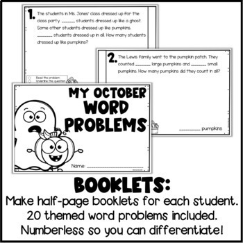 Halloween Addition & Subtraction Numberless Word Problems