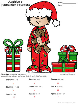 Addition & Subtraction Holiday/Christmas Kids in PJs Color Sheets