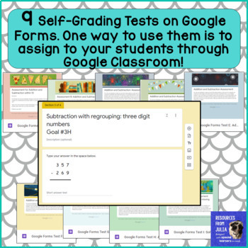 Addition & Subtraction IEP Goals,Self-Grading Tests,Assign with Google Classroom