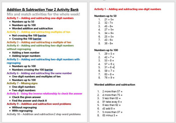 Addition, Subtraction & Inverse Activity Bank (Differentiated)