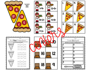 Addition & Subtraction Math Activities for K-1 PIZZA THEMED!