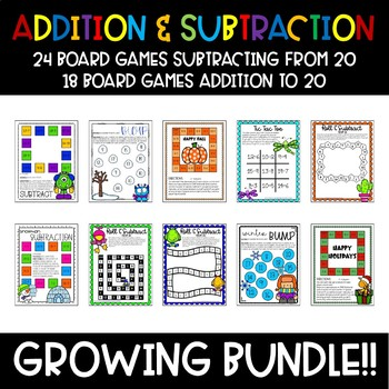 Addition & Subtraction Math Board Games {GROWING BUNDLE}
