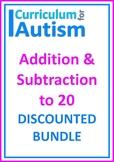 Addition Subtraction to 20 Autism Special Education BUNDLE