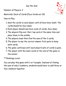 Addition & Subtraction Math Card Games