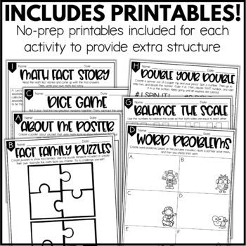 Addition & Subtraction Math Fact Enrichment Activities - Math Menu, Choice Board