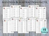 Addition Subtraction Math Facts Printable Workbook, Math W