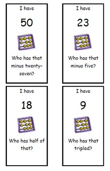 """""""I Have... Who Has..."""" Addition & Subtraction (Level - Difficult)"""