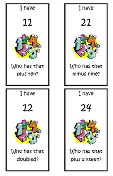 """I Have... Who Has..."" Addition & Subtraction (Level - Medium)"