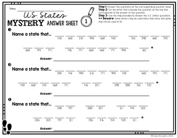 Addition & Subtraction Math Mystery Phrases - Mapping Skills U.S. States Edition