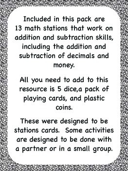 Addition & Subtraction Math Stations