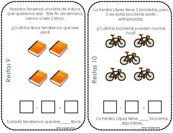 Addition Subtraction within 10 Math Task Cards Spanish
