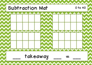 Addition & Subtraction Mats - with tens frames 0-10, 0-20, 0-40