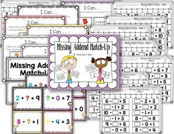 Addition Subtraction Missing Addend Bundle