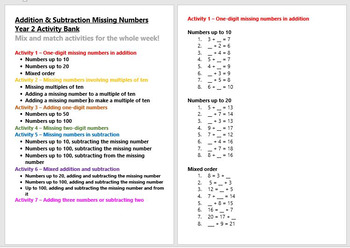 Addition & Subtraction Missing numbers Year 2 Activity Ban
