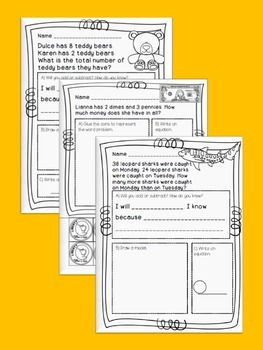 Addition, Subtraction, & Money Word Problem Bundle