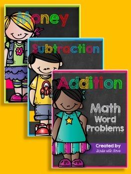 Addition, Subtraction, & Money Word Problem Bundle