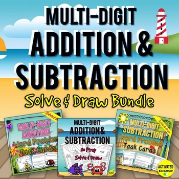 Addition & Subtraction Solve & Draw Activities BUNDLE
