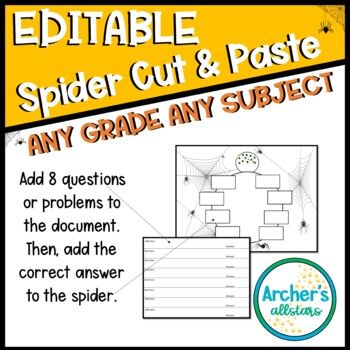 Editable Spider Cut and Paste Activity PLUS 2 Aligned 4th Grade Premade
