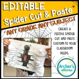 Editable Halloween Spider Cut and Paste Activity