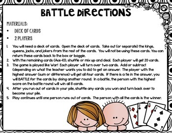 Addition/Subtraction/Multiplication Battle Game (Card) Directions