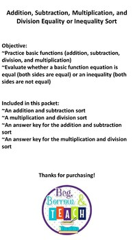 Addition, Subtraction, Multiplication, and Division Equality or Inequality Sort