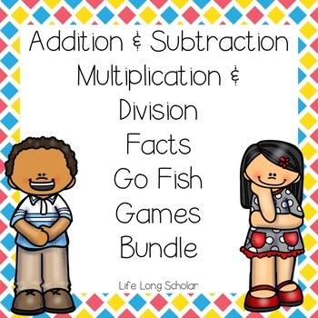 Addition/Subtraction/Multiplication/Division Facts Go Fish BUNDLE