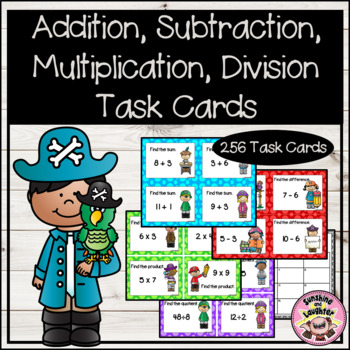 Addition, Subtraction, Multiplication, Division Scoot Cards