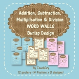Addition, Subtraction, Multiplication & Division Word Walls