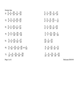 Addition Subtraction Multiplication Division of Fractions MAFS.5.NF.1.1