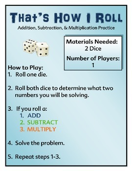 Math Center - Addition, Subtraction, & Multiplication Facts Center