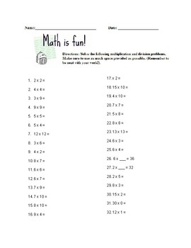 Addition, Subtraction, Multiplication Math Packet