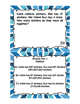 Addition, Subtraction & Multiplication Number Stories Sample