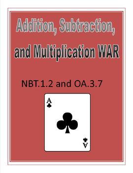 Addition, Subtraction, Multiplication War Center
