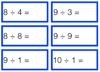 Addition Subtraction Multiplication & Division Cards